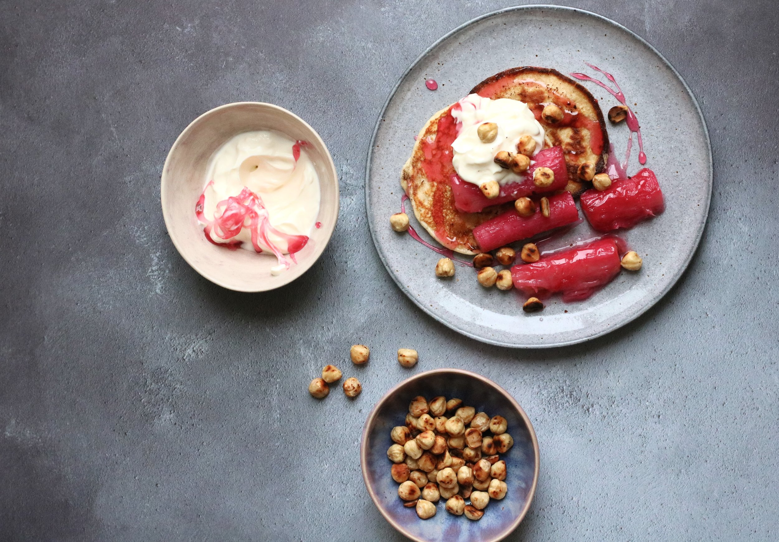 RHUBARB & HAZELNUT PANCAKES   March-August . A sweet and tangy treat for a special brunch.
