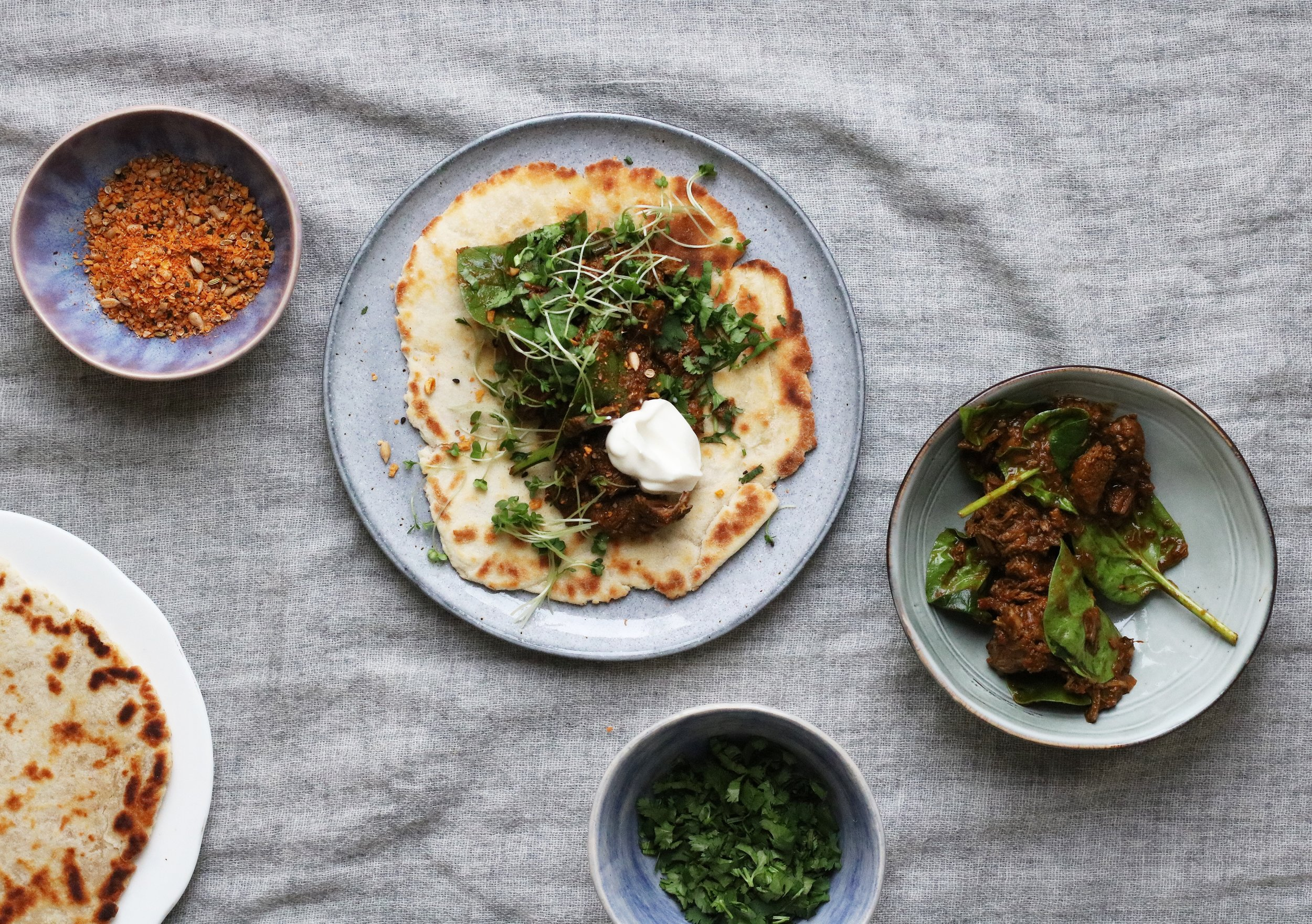 SPICED VENISON FLATBREADS   August-February . Not your classic venison recipe. Bold, gamey and spicy meat paired with soft homemade flatbreads and cooling natural yoghurt.