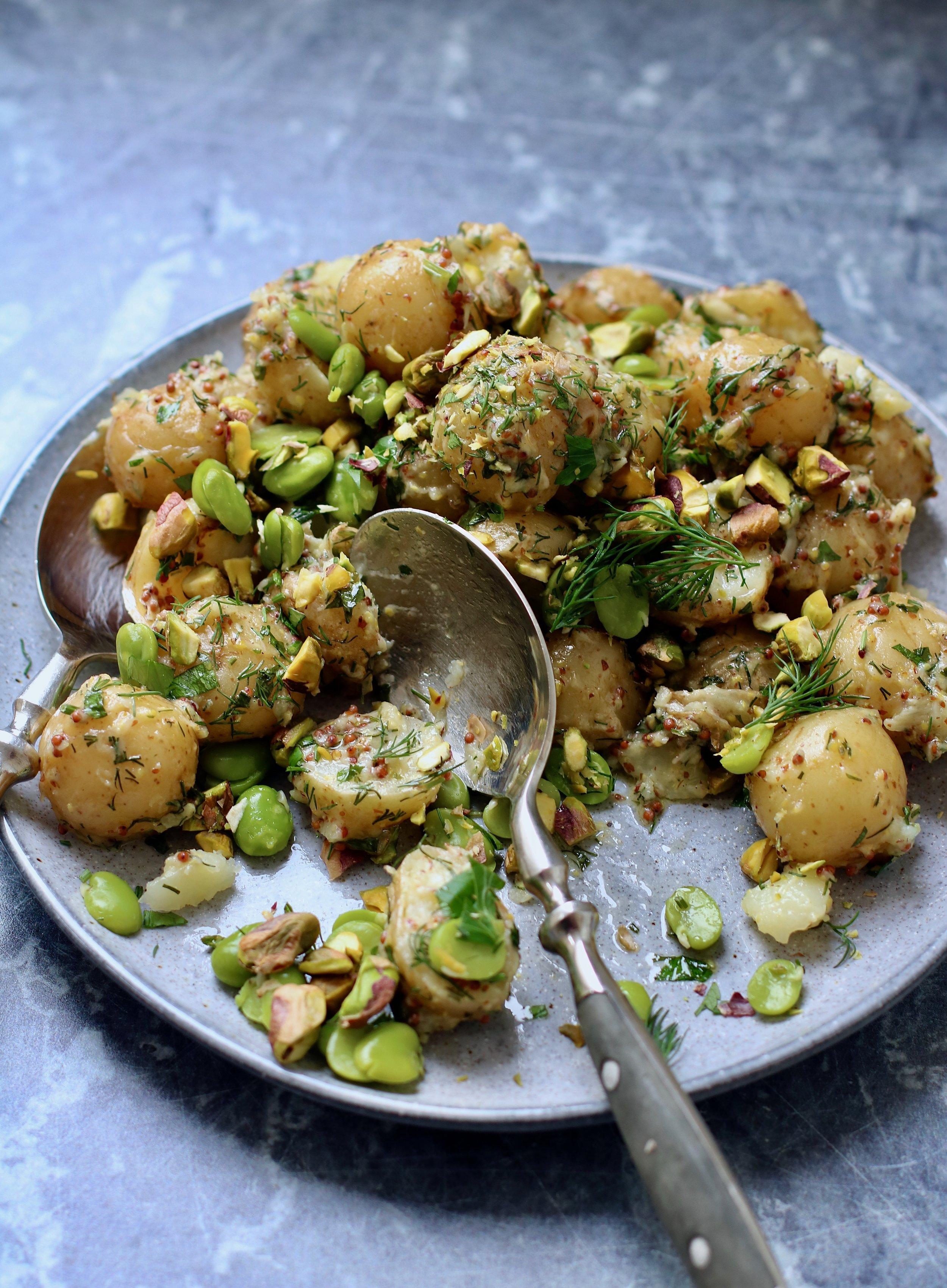 Potato and pistachio salad