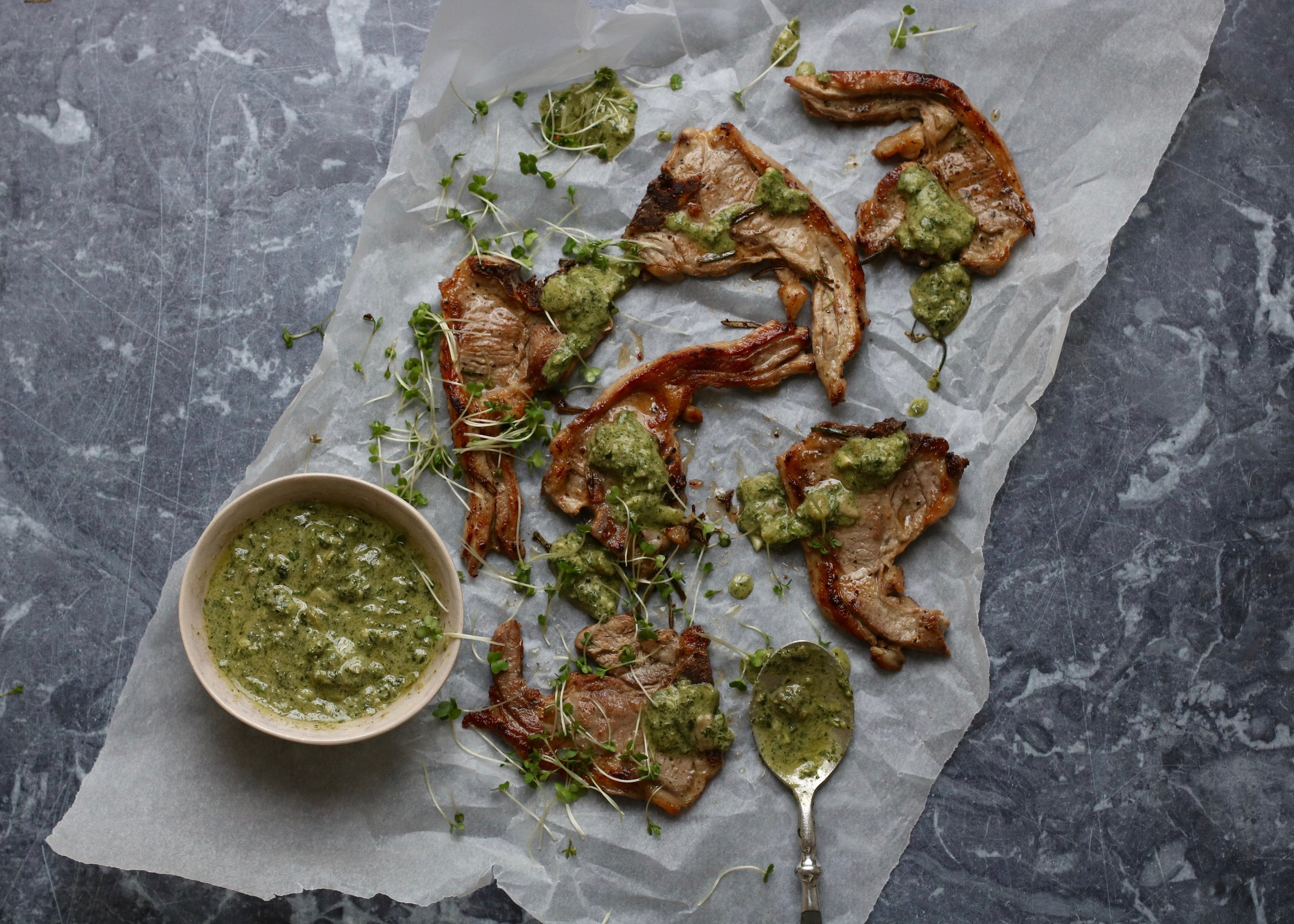 LAMB WITH SALSA VERDE  March-September. Griddled skinny lamb chops with salsa verde using all the homegrown spring & summer herbs. A classic combinaton.