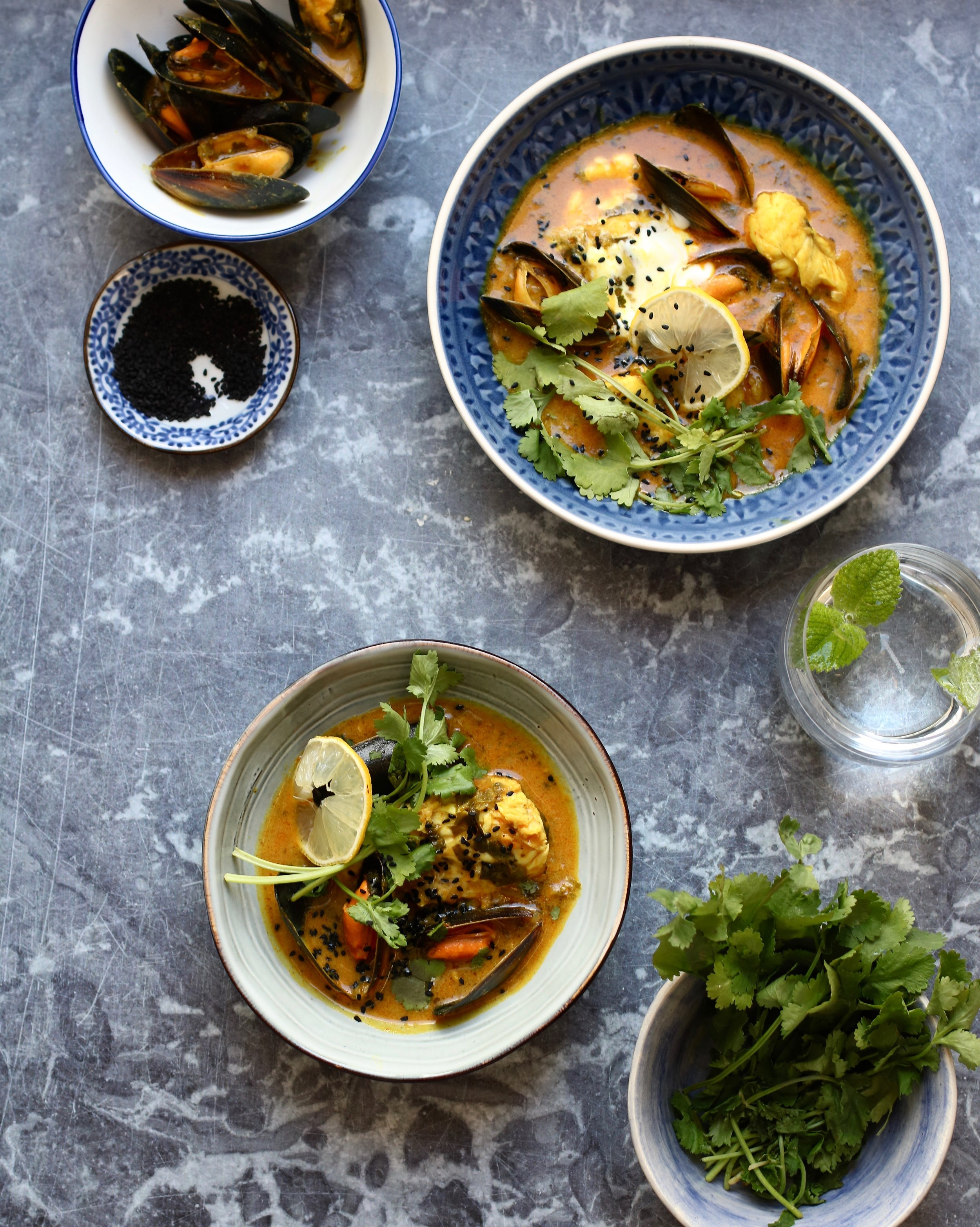 SPICED MONKFISH & MUSSEL SOUP   July-January.  A Sri Lankan spiced monkfish soup with ginger, coconut, fresh herbs and Scottish mussels.