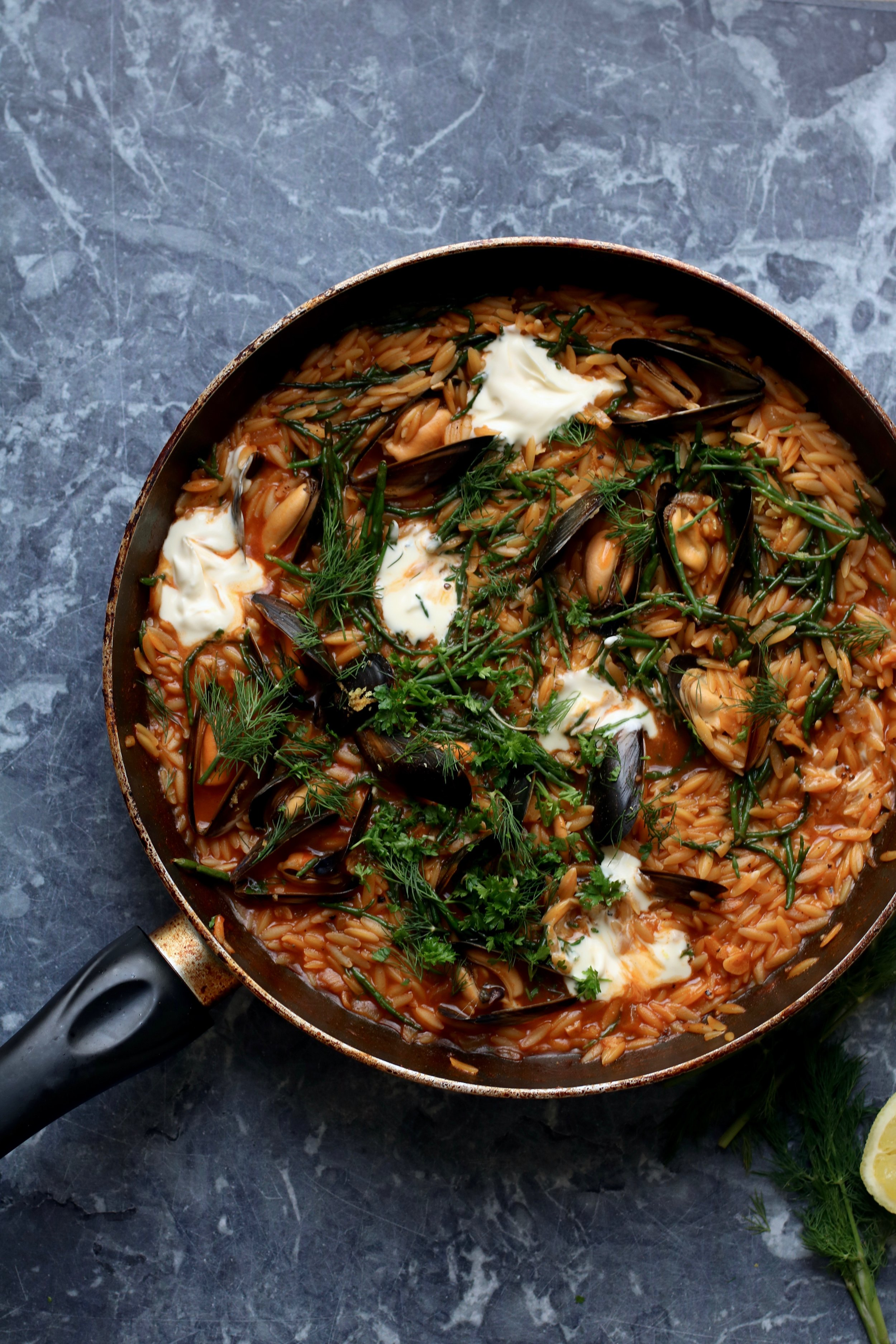 Mussels with samphire and orzo