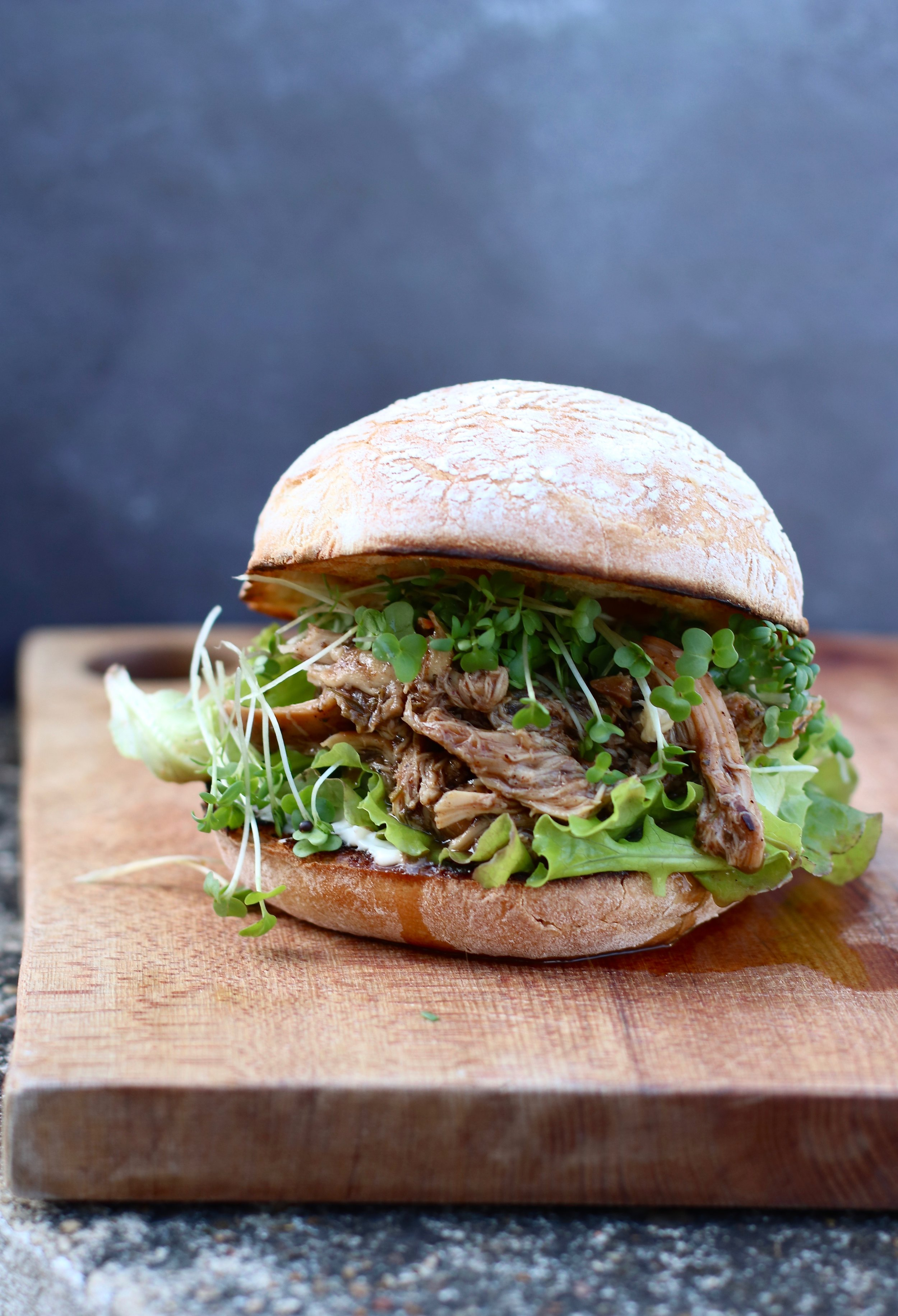 Pulled jerk chicken burger