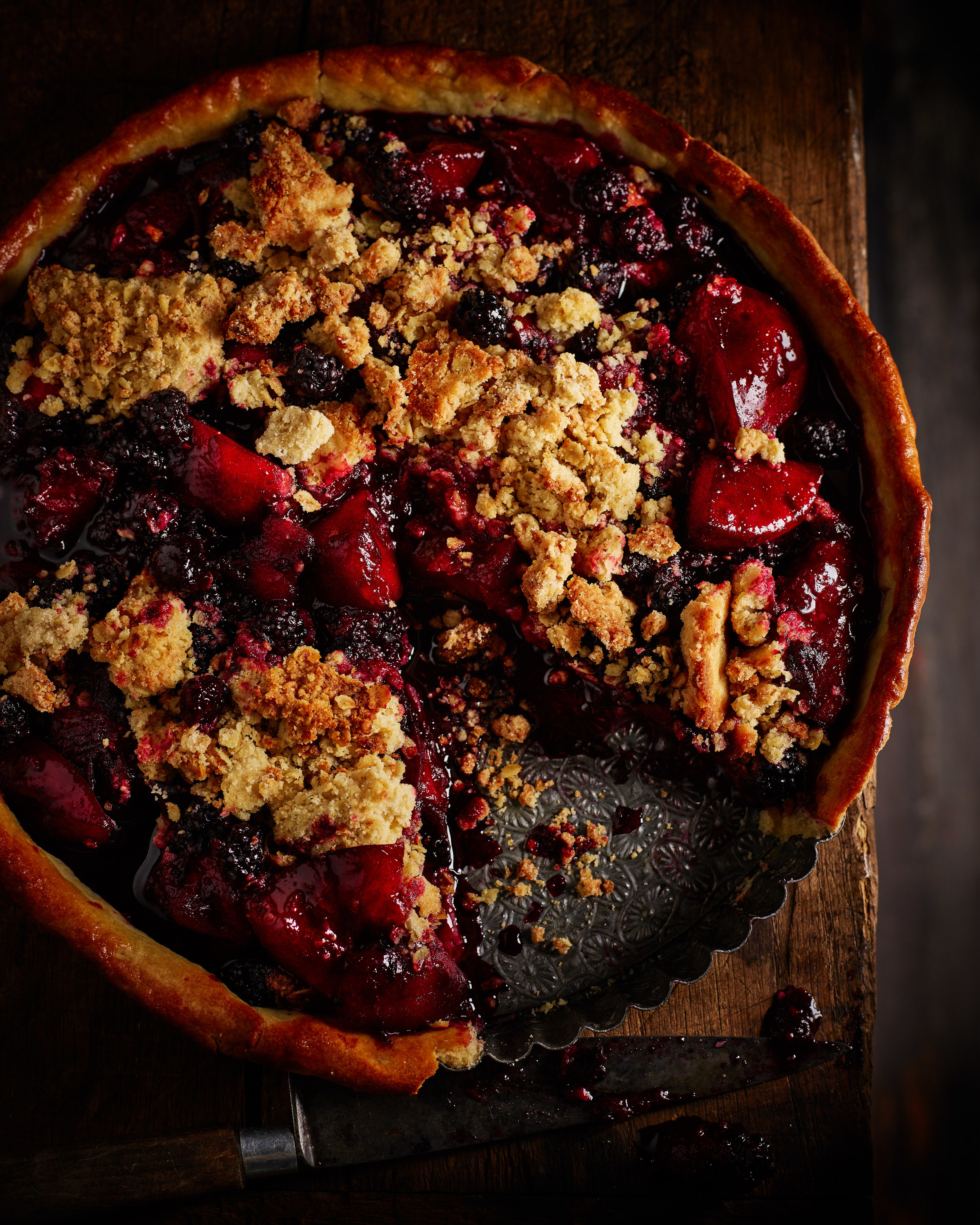 WILD BLACKBERRY AND PLUM CRUMBLE PIE   August-October . The most warming autumnal pudding, somewhere between a crumble and a pie.