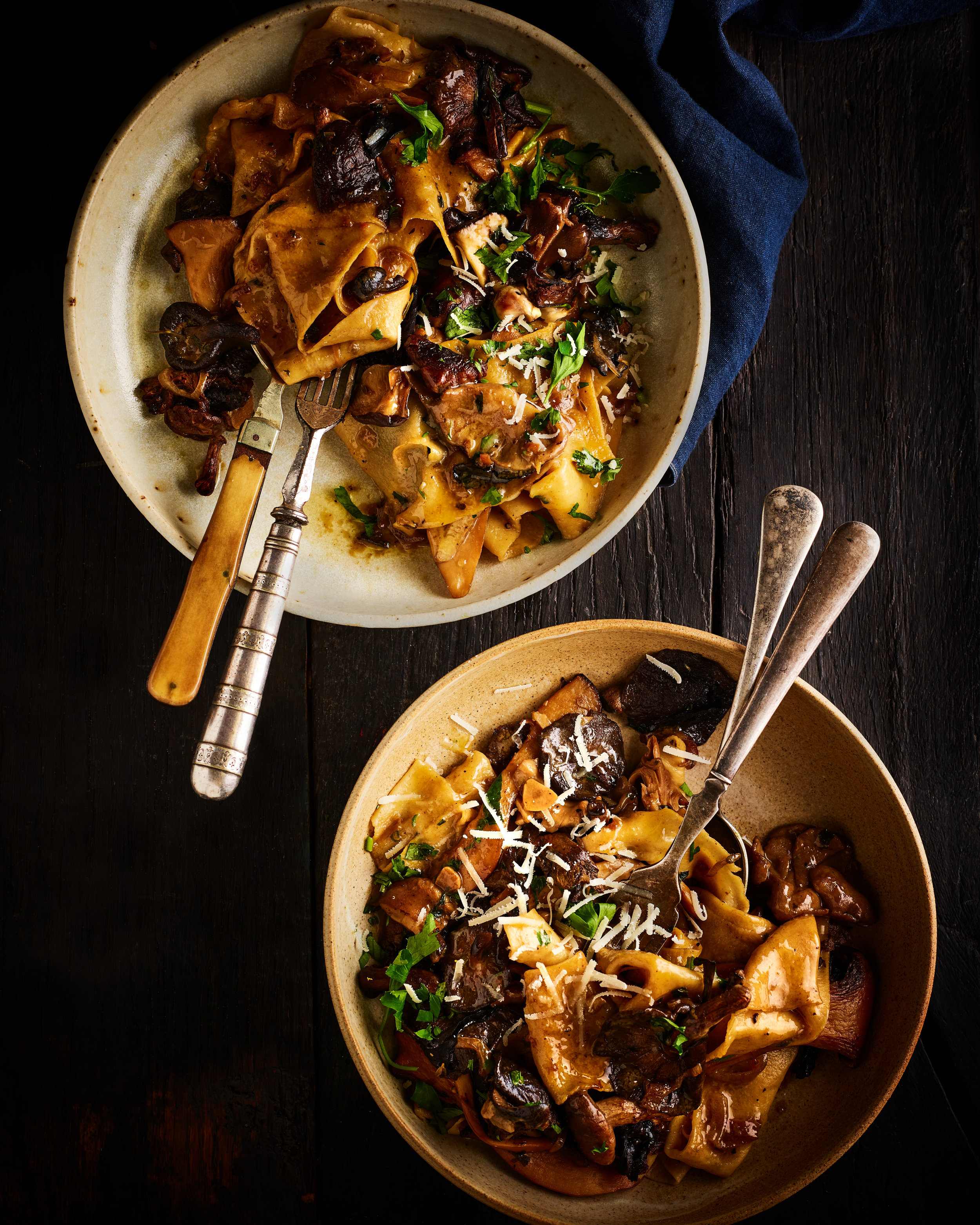 WILD MUSHROOM RAGOUT WITH PAPPARDELLE   August-November. A pasta dish which screams autumn. Use hand picked wild mushrooms if you can get hold of them. You'll notice just how meaty and nutty they are.