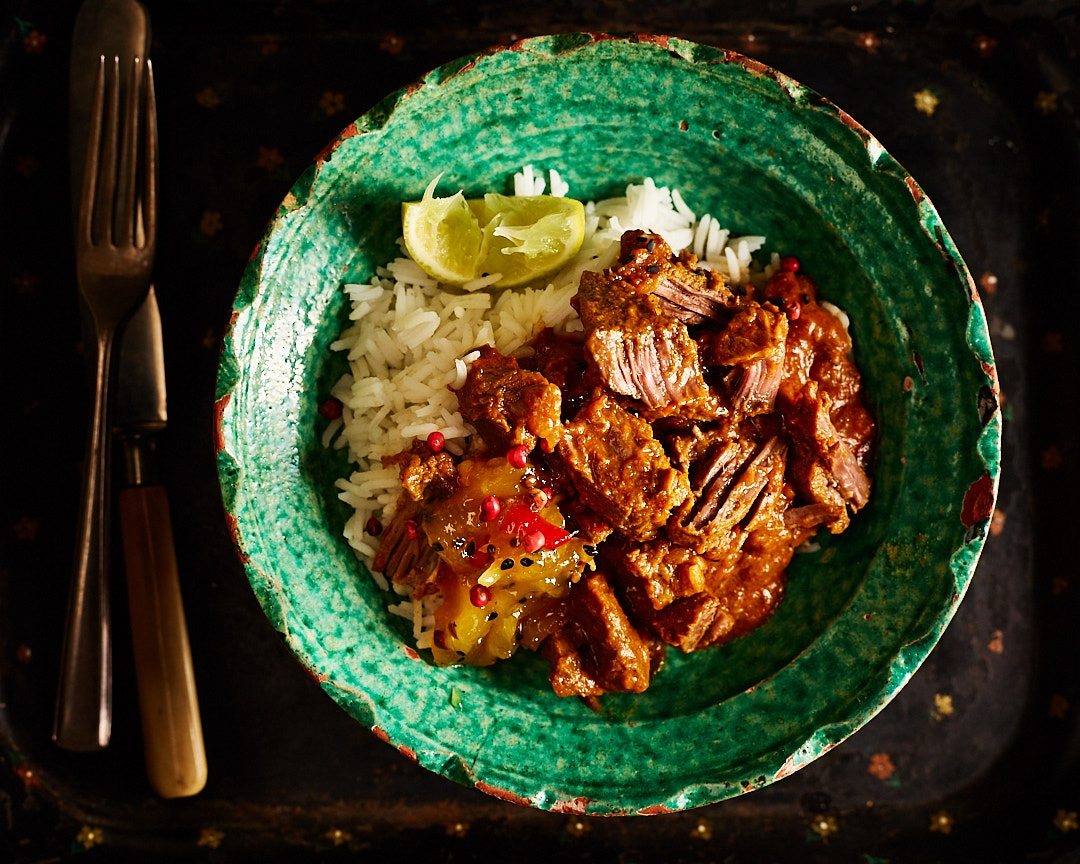 DEER CURRY   August-February . Wild venison curry cooked for 5 hours in a classic blend of Indian spices. Serve with fluffy rice and mango chutney for a different take on this game meat.