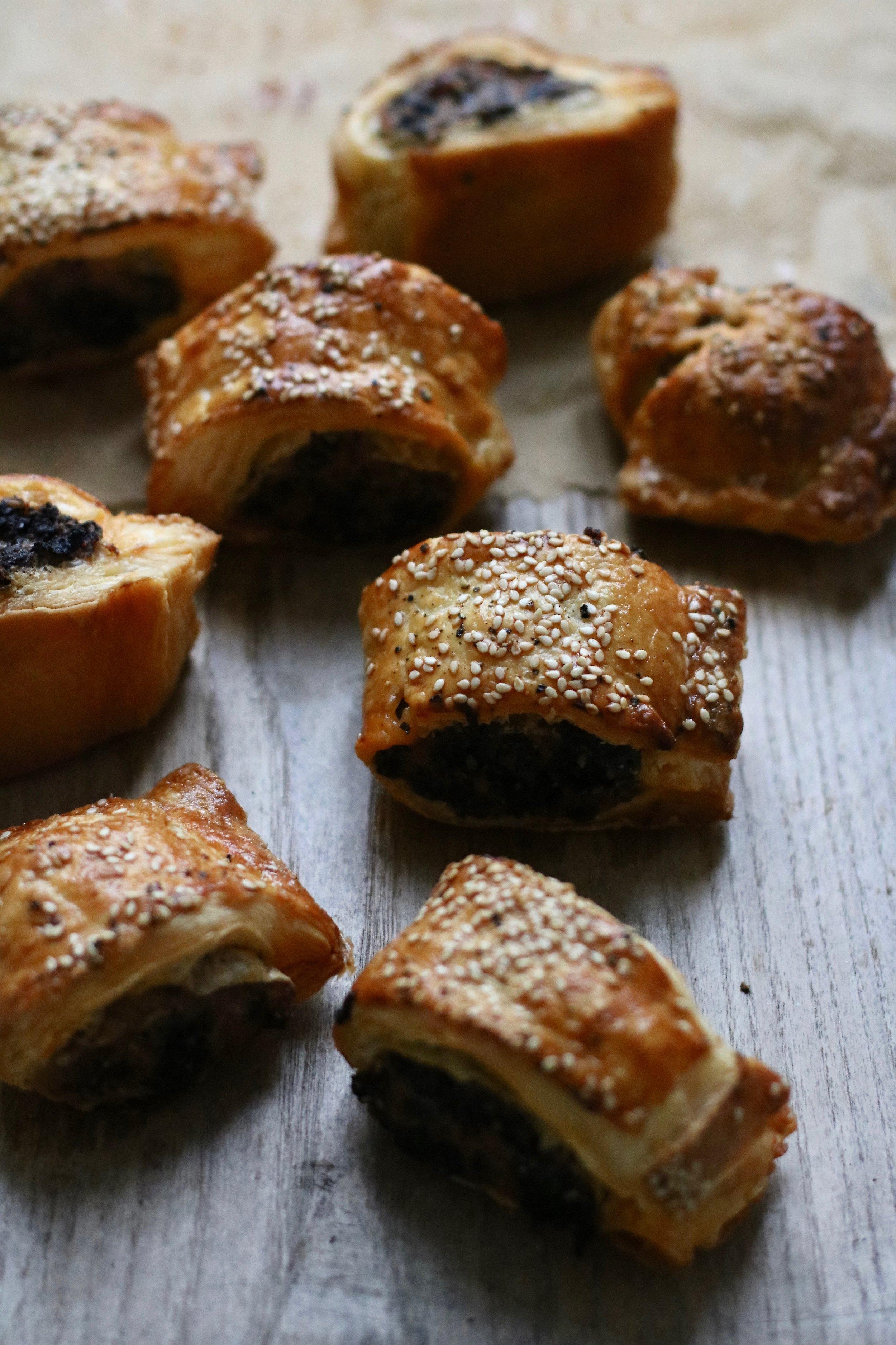 Black pudding sausage rolls