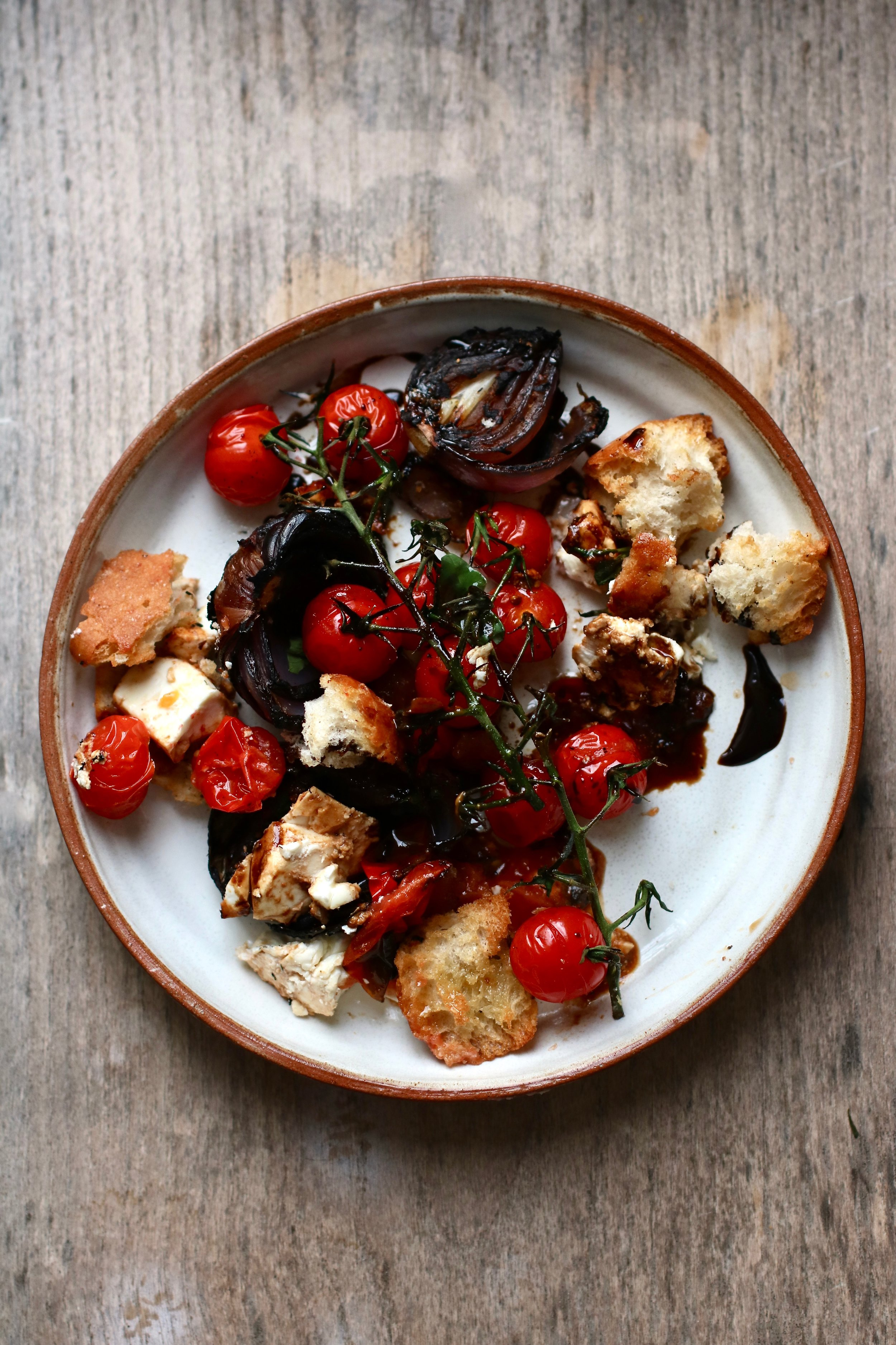 BLACKENED TOMATO SALAD   June-October . This tomato salad brings together the best of British tomatoes with firey smokey flavour and crusty croutons.