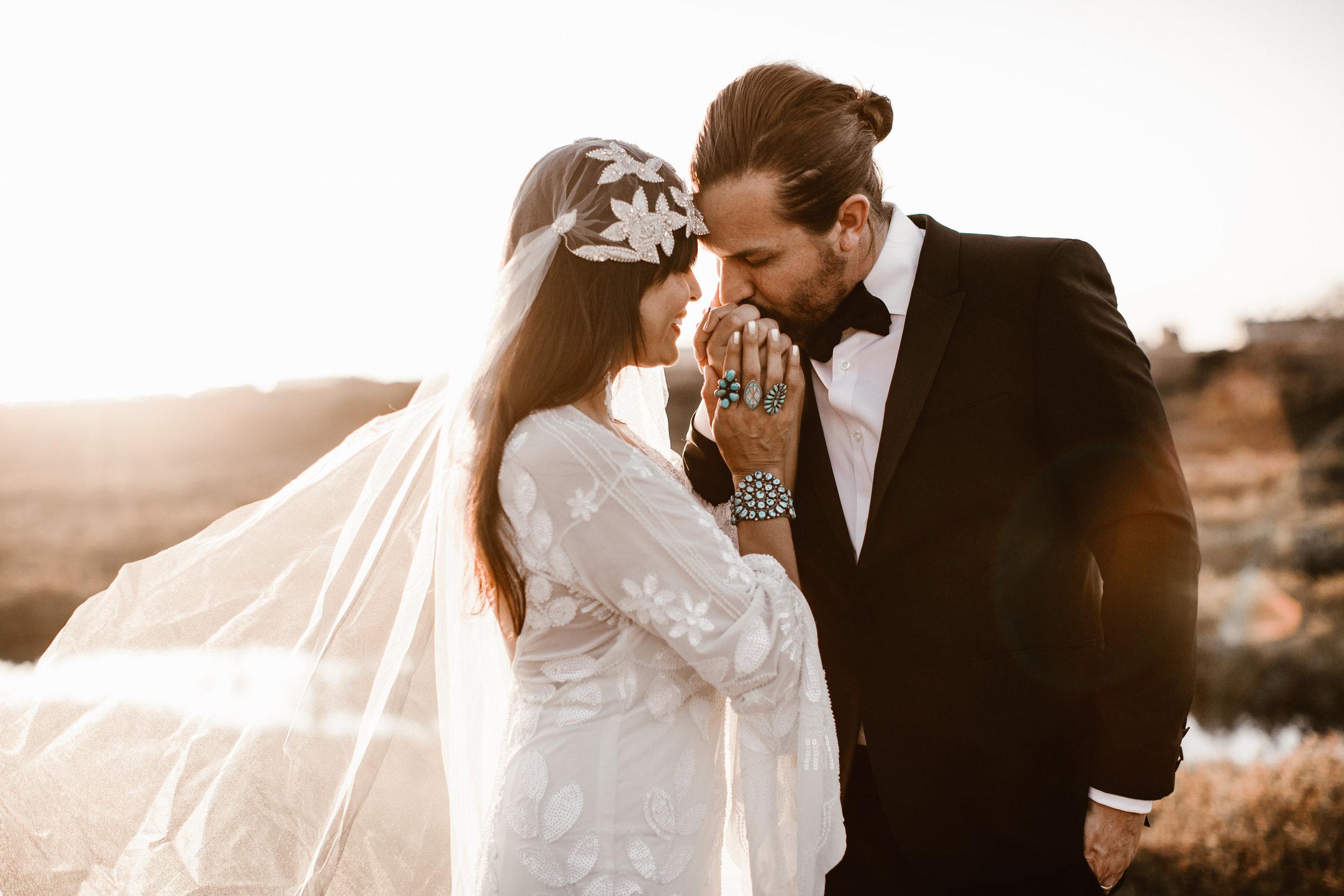 Real Bride wearing Untamed Petals Berlin Cap veil