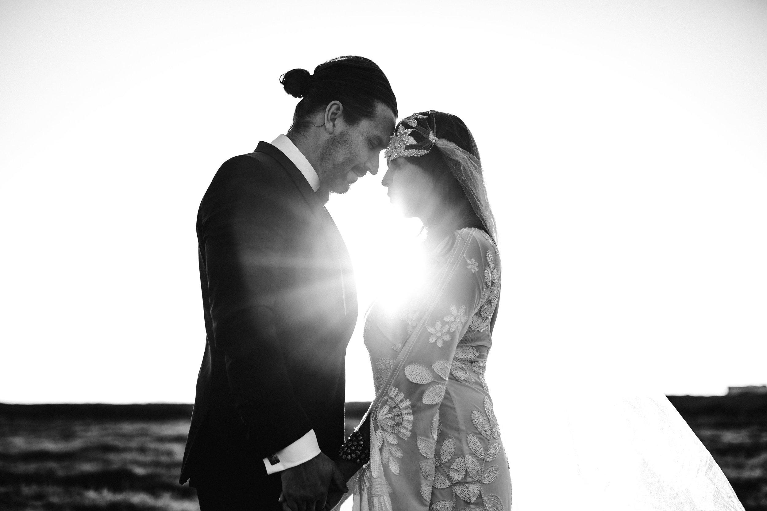 High end modern wedding - wearing Untamed Petals Hand Beaded Berlin Cap veil