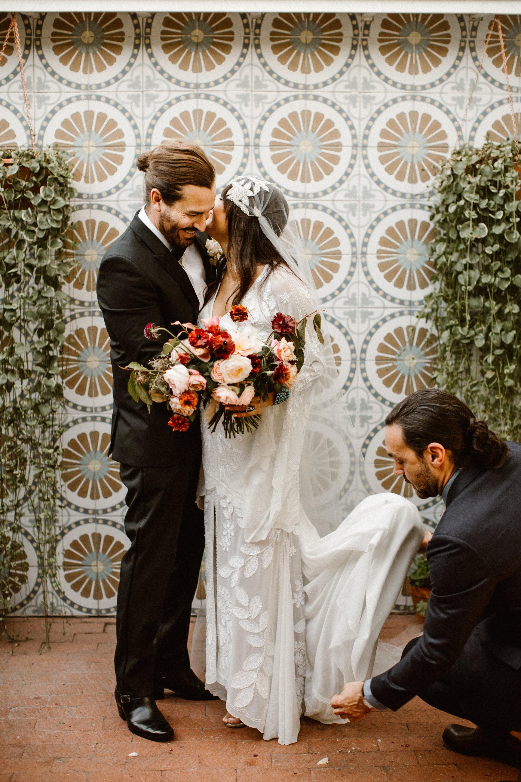 Bohemian Modern wedding - Berlin hand beaded cap veil