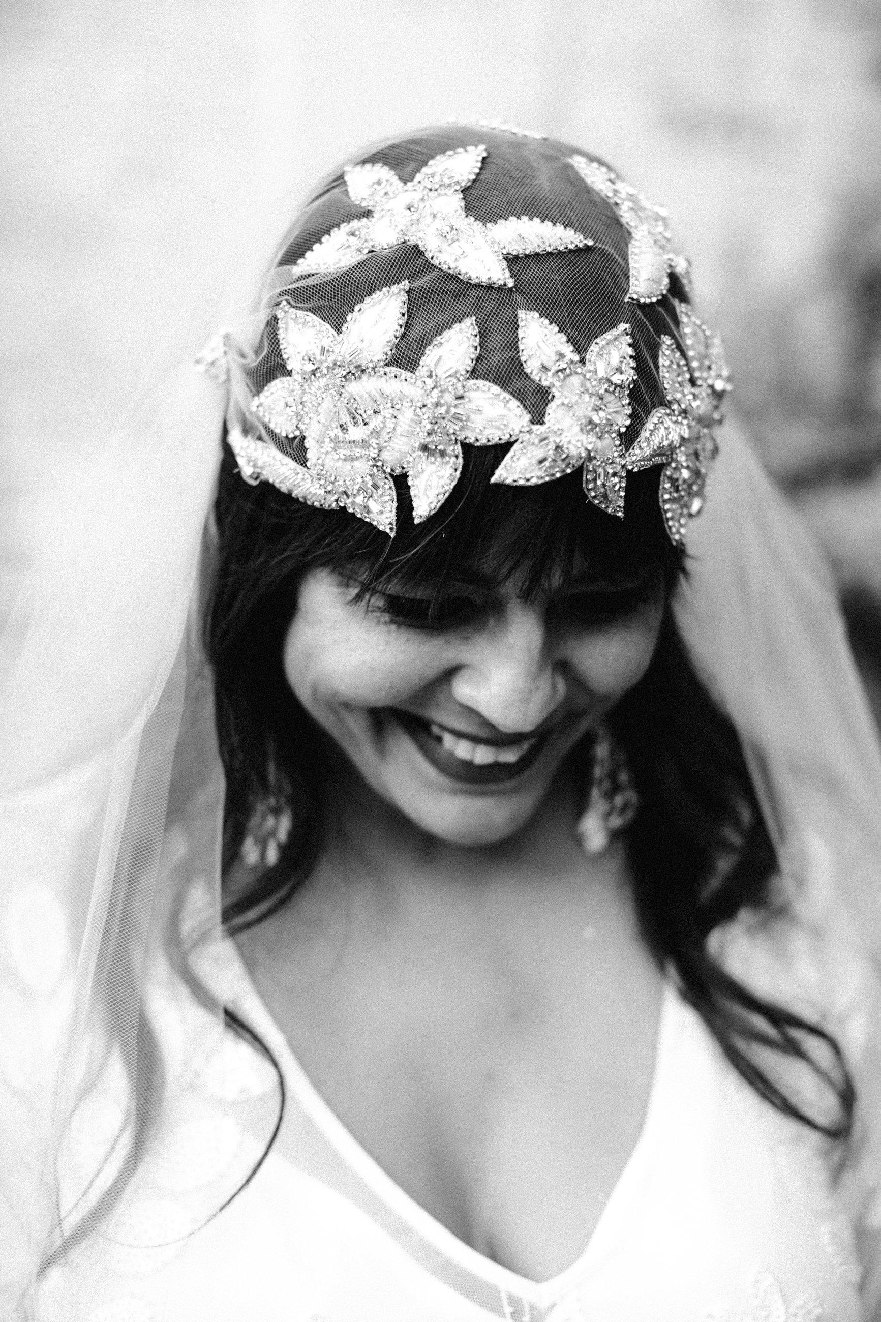 Real Bride wearing Untamed Petals hand beaded Berlin Cap veil