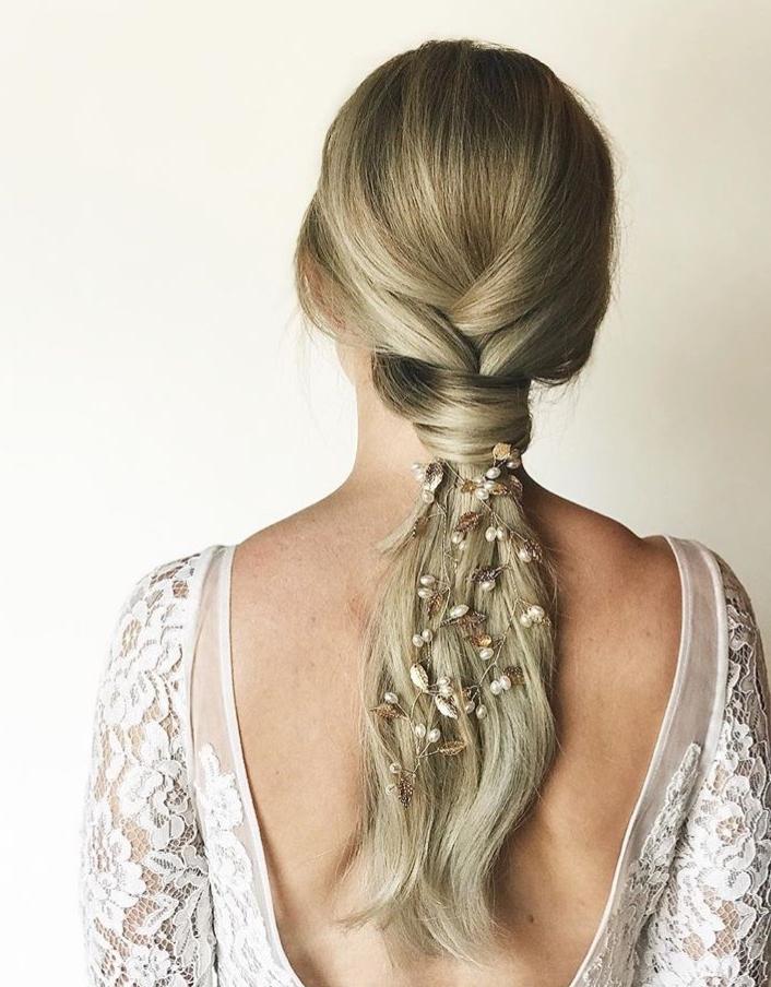 Wear a bridal hair vine in braid