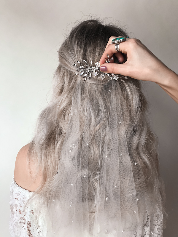 wearing a bridal veil and headpiece - By Untamed Petals