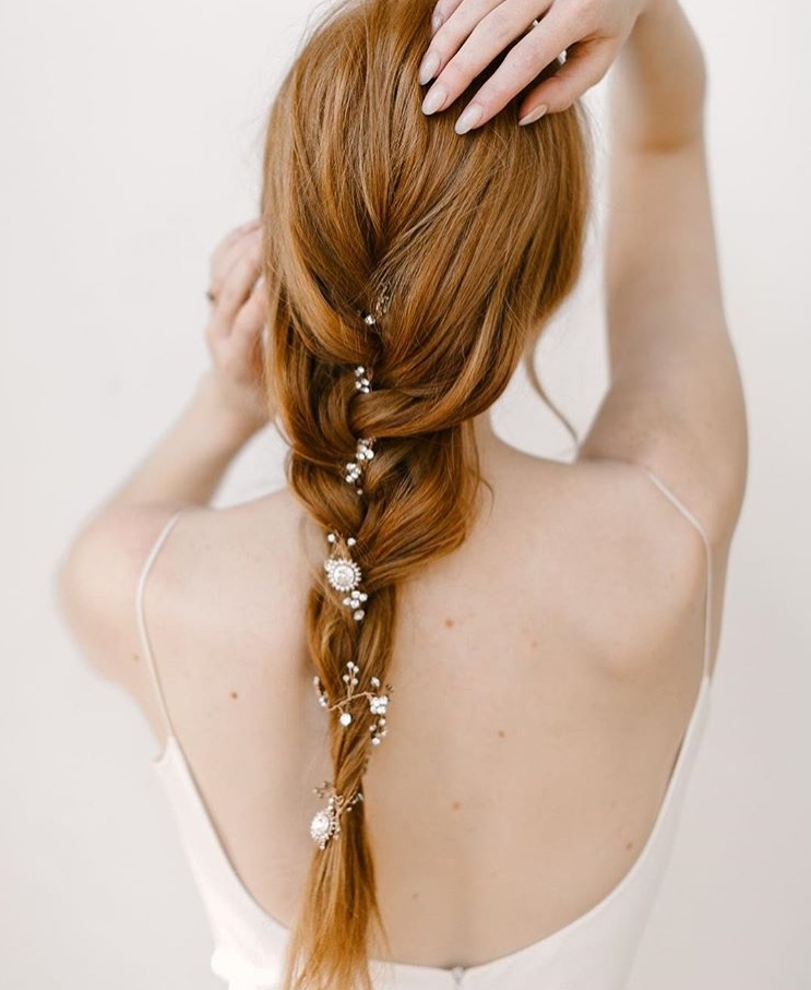 Wear a bridal hair vine in a braid