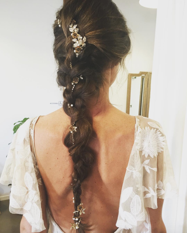 Wear a bridal hair vine in a brai