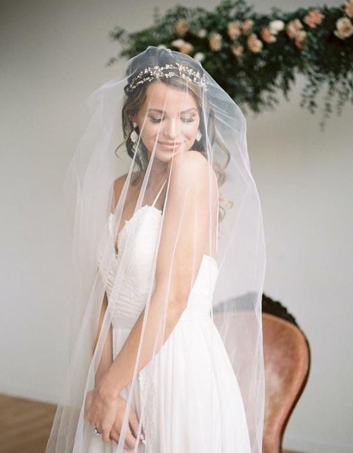 Wear a bridal hair vine as a headband with veil