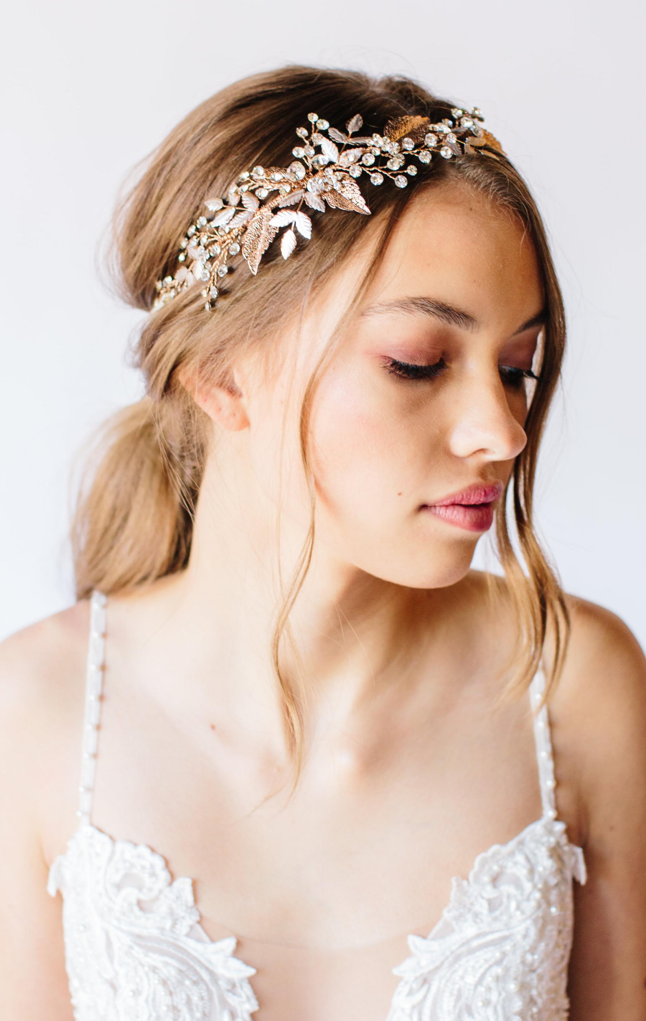 rose gold bridal headpiece