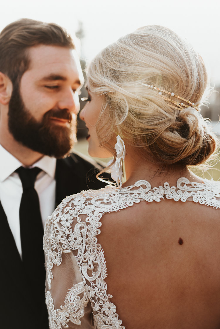 bridal updo with accessory