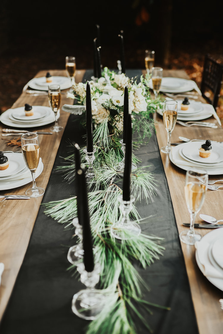 winter bridal table setting