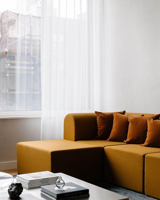 NEW WORK   Raw materials, strong lines, soft light.  Project in New York by @beigebeige.co + @dslvstudio   📷 @nickglimenakis . . . . #geometries #newyork #interiors #interiordesign #styling #living #danishfurniture #kvadrat #paustian #sofa #furnituredesign #design #beige
