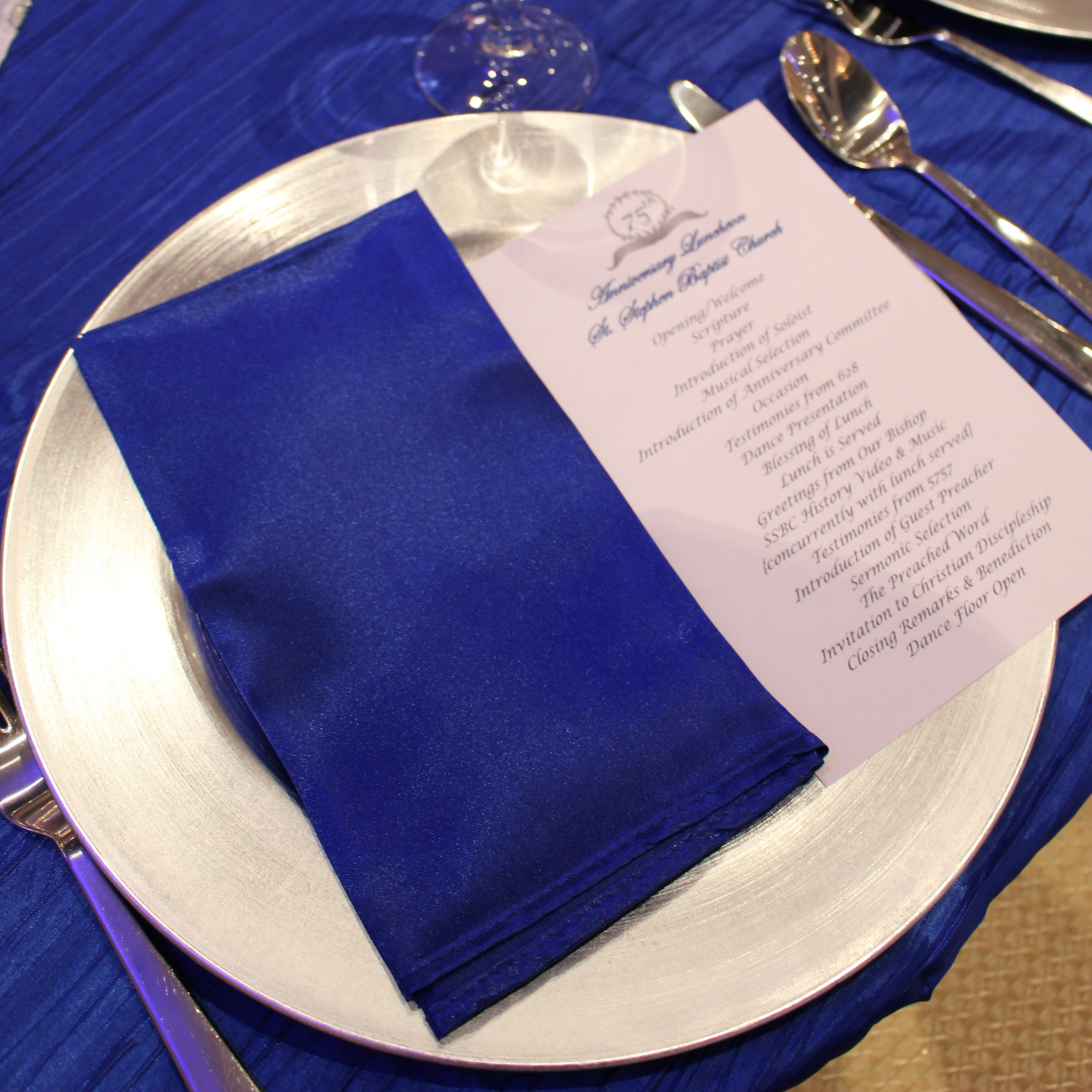NAPKINS - SATIN   Colors Available: White, Silver, Gold, Royal Blue, Black.    Contact us for pricing & availability