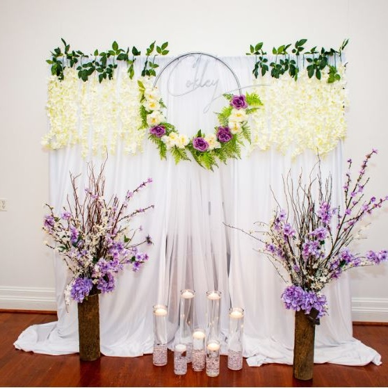 10X10 BACKDROP & DRAPING   Perfect for creating a focal point at your event.    Contact us for pricing & availability