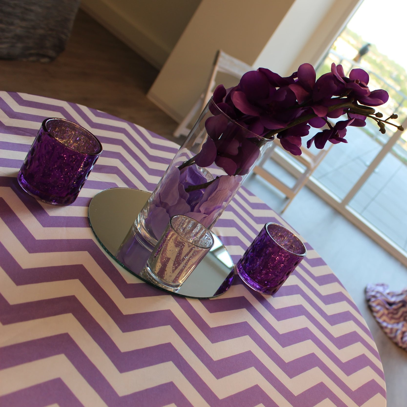 MERCURY GLASS VOTIVE HOLDERS   Colors available: Gold, Silver, Fuchsia, Royal Blue, Red, Royal Purple, Black Lace.    Contact us for pricing & availability
