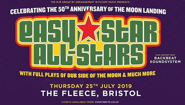 Stoked to be reunited with our fam @easystarallstars again in July at The Fleece, Bristol. Grab your tickets while your can. Big vibes all night long! ❤️💚💛 #backbeatsoundsystem #easystarallstars #easystarrecords #dubsideofthemoon #reggae #bristolreggae #dub #pinkfloyd
