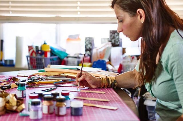 "Maker Spotlight No.2 Regramming another favourite @etsy seller @petite.hero - I love documenting makers and businesses to help them tell their stories online. Document not create as my virtual mentor @garyvee says! : ""Currently painting tons of bracelets for a wholesale order, but not looking nearly as put together as I did in this snap by @paparellacreative - over 100 degrees in Las Vegas = ponytails and tank tops! What do you do to beat the heat? I feel like I need all the 🍦"" . #petitehero #paparellacreative #documentnotcreate #makersgonnamake #handsandhustle #etsyseller #momtrepeneur"