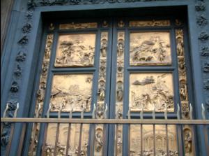 The famous bronze door of Florence