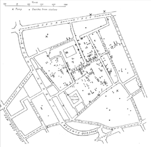 Map by Dr. John Snow of London, showing clusters of cholera cases in the 1854 Broad Street cholera outbreak. This was one of the first uses of map-based spatial analysis