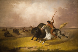 'Buffalo Hunt on the Southwestern Prairies', oil on canvas painting by John Mix Stanley, 1845, Smithsonian American Art Museum (Washington D. C.).