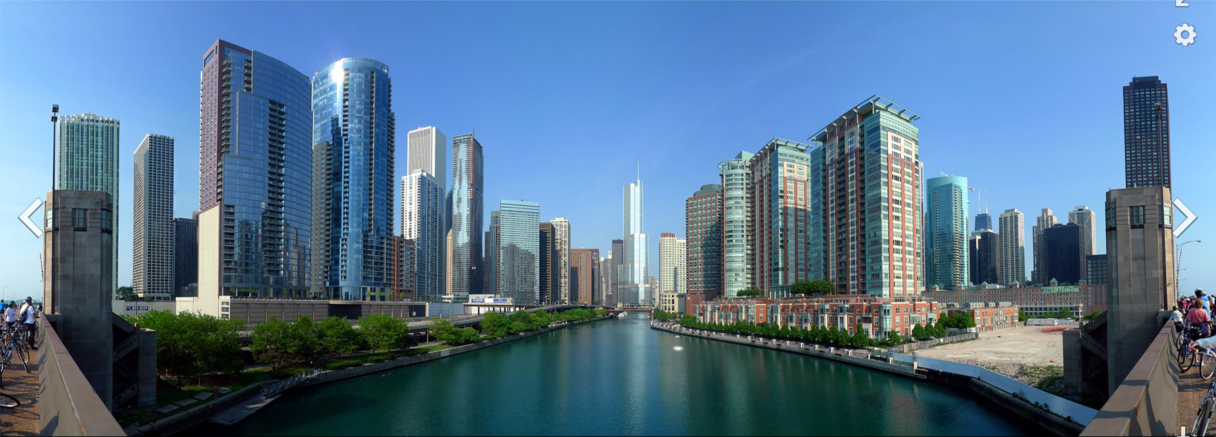 The  Chicago River  is the south border of the  Near North Side  (right) and the north border of the  Loop ; the Loop's  Near East Side  is to the left in this picture.
