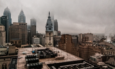 Downtown Philadelphia, showing City Hall, at 6am, April 2011, from my room in the Loews Hotel. (photo: Howard Dinin)
