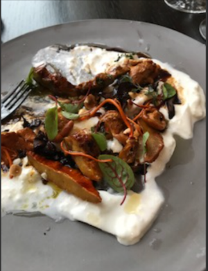 Loveliest of the presentations. Covers enough of the plate to not get lost Layered beautifully with a large variety of tasty mushrooms and perfectly toasted hazelnuts. You can see that the egg whites wanted to be like a very soft meringue, not with occasional solid pieces.