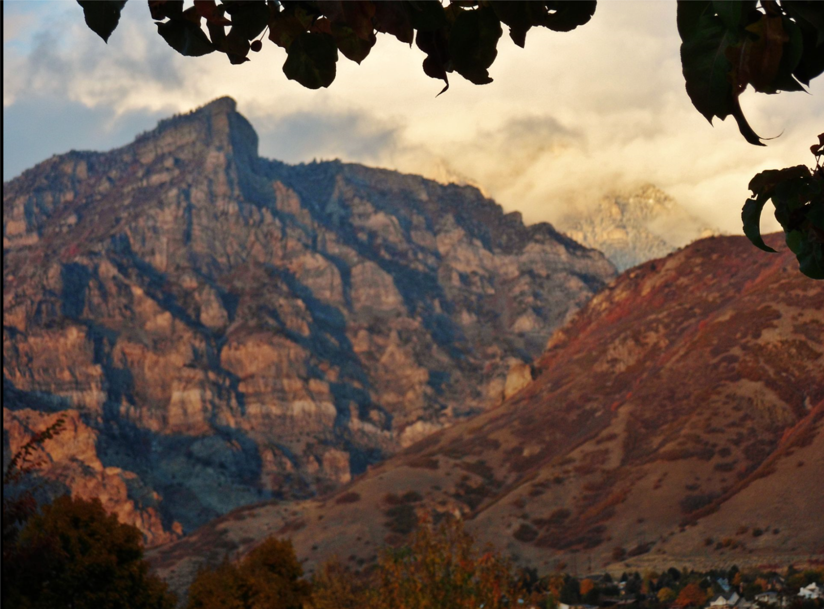 Squaw Peak over Rock Canyon at sunset as seen from BYU campus. The Wasatch were great company.