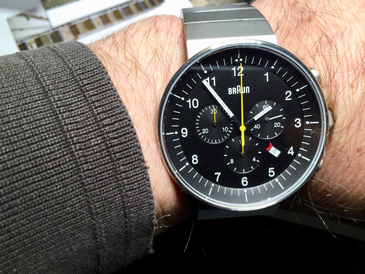 The Braun chronograph, designed by associates of Dieter Rams, one of the great industrial designers of the 20th century