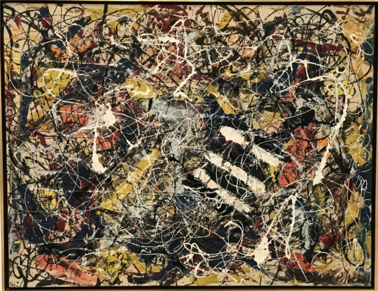 Paul Jackson Pollock (January 28, 1912 – August 11, 1956) was an American painter and a major figure in the abstract expressionist movement.   He was well known for his unique style of drip painting.   During his lifetime, Pollock enjoyed considerable fame and notoriety; he was a major artist of his generation.   Regarded as reclusive, he had a volatile personality, and struggled with alcoholism for most of his life.   In 1945, he married the artist Lee Krasner, who became an important influence on his career and on his legacy.