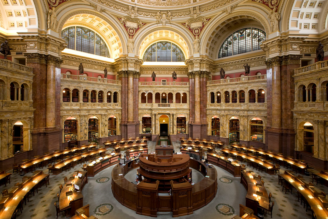 The main reading room of the North End library. Not. The Library of Congress. But they don't serve cappuccino.