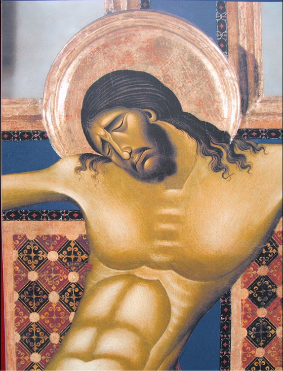 """Cimabue's Arezzo crucifix, c. 1268–1271, above, hangs in The Basilica of San Domenico, a medieval church in Arezzo, Tuscany, Italy, dedicated to St Domenic. This is the earlier of the two extant crucifixes attributed to him. In fact, t's probably his earliest extant work. The later one, in much poorer condition, hangs in the Basilica of Santa Croce in Florence. Cimabue breathes new emotive content into the abstract or stylized forms of the Byzantine Art that dominated Europe at this time. Along with the traditional stylization of the human form, Cimabue seems to have been among the first to return to a close observation of nature. The Crucifixion is sculpturally conceived and its solidity and bulk lend a heightened sense of drama. Many consider him the first Florentine painter and the first painter of the """"modern"""" times that Duccio and Giotto and Florence will bring into flower: Renaissance Art."""