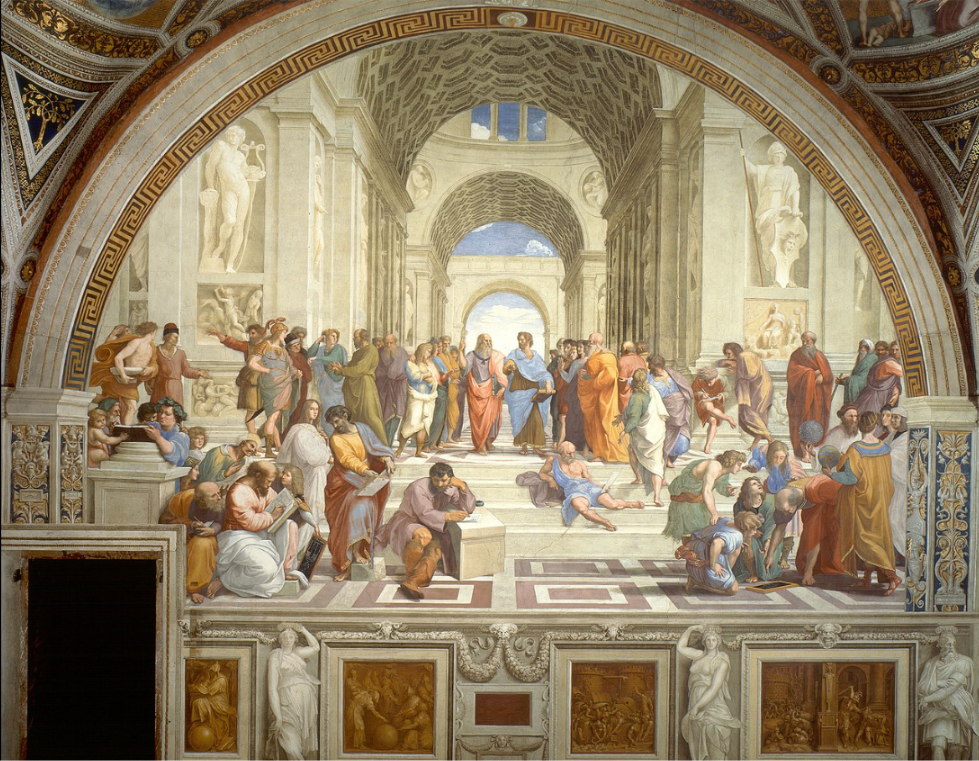 """The School of Athens is a fresco by the Italian Renaissance artist Raphael.   It was painted between 1509 and 1511 as a part of Raphael's commission to decorate the rooms now known as the Stanze di Raffaello, in the Apostolic Palace in the Vatican.   The Stanza della Segnatura was the first of the rooms to be decorated, and The School of Athens, representing Philosophy, was probably the third painting to be finished there, after La Disputa (Theology) on the opposite wall, and the Parnassus (Literature).  The picture has long been seen as """"Raphael's masterpiece and the perfect embodiment of the classical spirit of the Renaissance"""".     fresco:   a technique of mural painting executed upon freshly laid, or wet lime plaster.   Water is used as the vehicle for the dry-powder pigment to merge with the plaster, and with the setting of the plaster, the painting becomes an integral part of the wall.   The word fresco (Italian: affresco) is derived from the Italian adjective fresco meaning """"fresh"""", and may thus be contrasted with fresco-secco or secco mural painting techniques, which are applied to dried plaster, to supplement painting in fresco.   The fresco technique has been employed since antiquity and is closely associated with Italian Renaissance painting."""