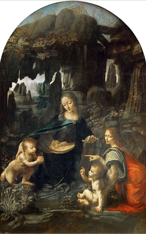 The Virgin of the Rocks (sometimes the Madonna of the Rocks) is the name of two paintings by Leonardo da Vinci, of the same subject, and of a composition which is identical except for several significant details.   The version generally considered the prime version, that is the earlier of the two, (shown here) hangs in The Louvre in Paris and the other in the National Gallery, London.  The paintings are both over 6 feet high and are painted in oils.   Both were originally painted on wooden panel, but the Louvre version has been transferred to canvas.  Both paintings show the Madonna and child Jesus with the infant John the Baptist and an angel, in a rocky setting which gives the paintings their usual name.   The significant compositional differences are in the gaze and right hand of the angel.     There are many minor ways in which the works differ, including the colors, the lighting, the flora, and the way in which sfumato has been used. Although the date of an associated commission is documented, the complete histories of the two paintings are unknown, and lead to speculation about which of the two is earlier.  Two further paintings are associated with the commission: side panels each containing an angel playing a musical instrument and completed by associates of Leonardo. These are both in the National Gallery, London.   Amazingly, while we had to literally elbow our way through the crowds that came to take pictures of DaVinci's 'Mona Lisa,' my cousin and I could walk right up to this painting and spend as long as we wanted without being intruded upon.