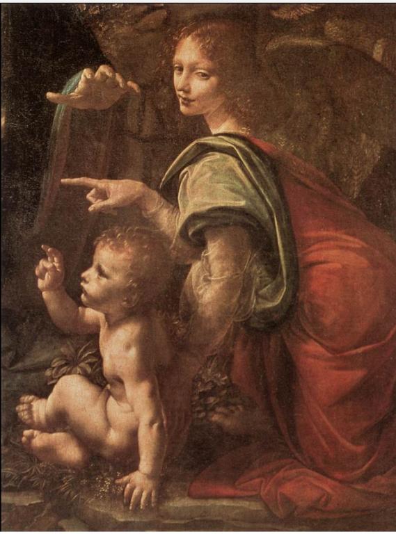 Detail of Angel and Christ blessing John who prays