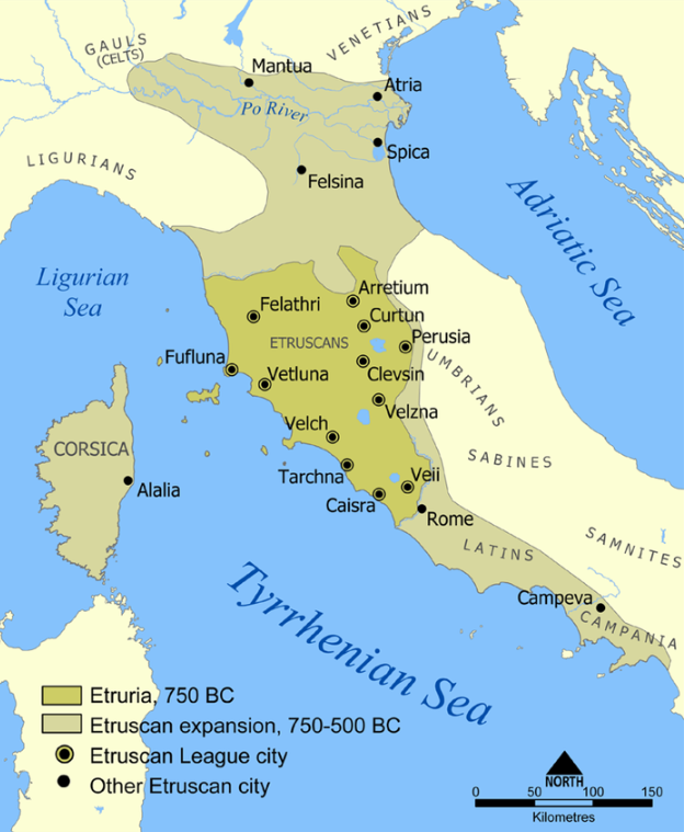 Extent of Etruscan civilization and the twelve Etruscan League cities