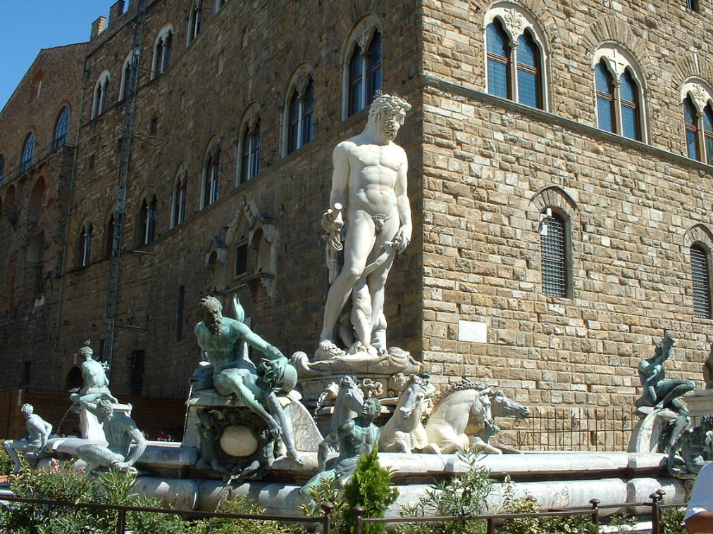 The Fountain of Neptune (Italian: Fontana del Nettuno) is a fountain in Florence, Italy, situated on the Piazza della Signoria (Signoria square), in front of the Palazzo Vecchio.  Made of marble and bronze, the fountain was commissioned in 1565 and designed by Baccio Bandinelli.  It is the work of the sculptor Bartolomeo Ammannati with some elements created by collaborators.  For example, the bronze sea-horses are the work of Giovanni da Bologna, often called Giambologna.