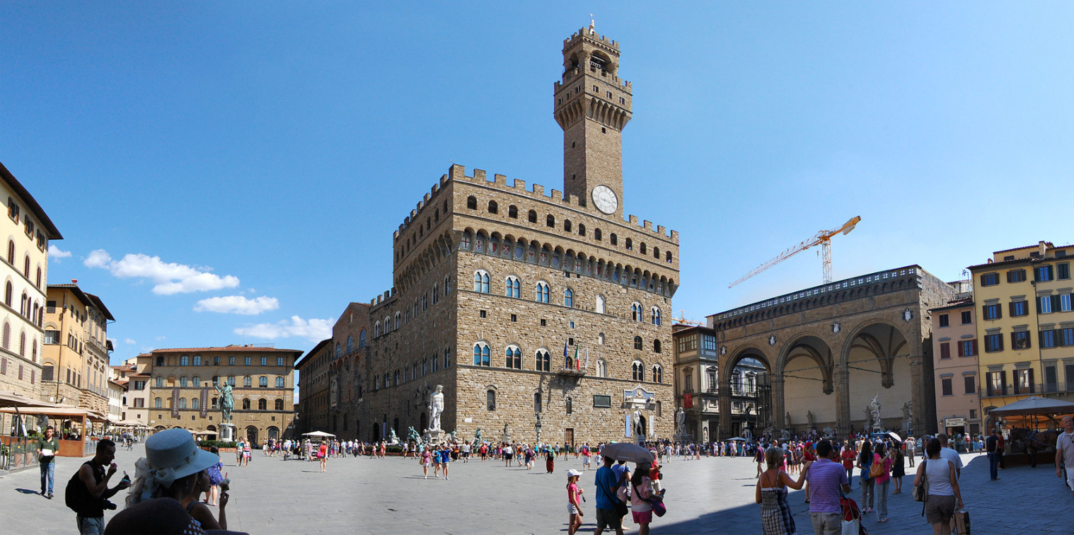 Piazza della Signoria is an L-shaped square in front of the Palazzo Vecchio in Florence, Italy.  It was named after the Palazzo della Signoria, also called Palazzo Vecchio.  It is the main point of the origin and history of the Florentine Republic and still maintains its reputation as the political focus of the city.  It is the meeting place of Florentines as well as the numerous tourists, located near Palazzo Vecchio and Piazza del Duomo and gateway to Uffizi Gallery.