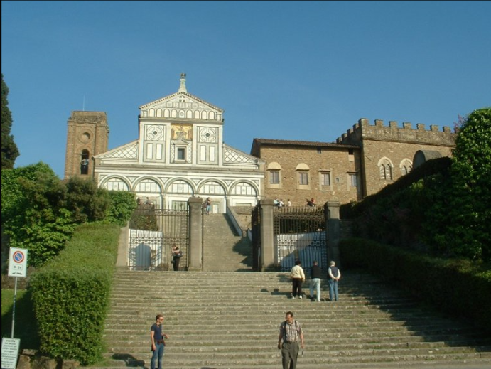 Basilica San Miniato in Florence is an important setting in the movie.