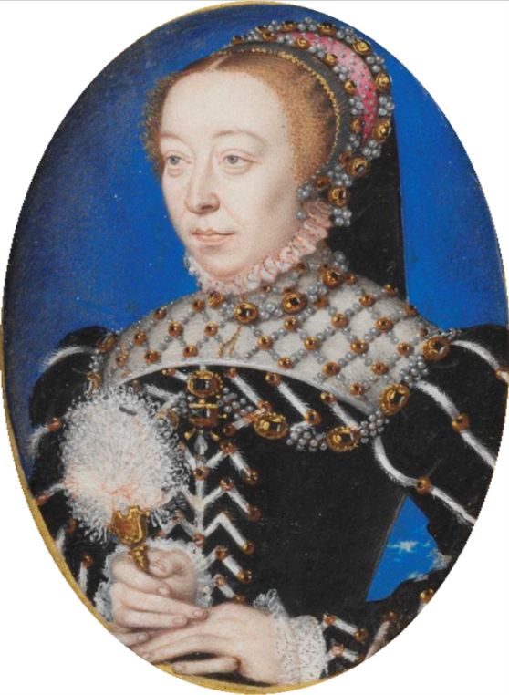"Miniature of Catherine de' Medici, ""a rare portrait of Catherine before she was widowed in 1559, when she adopted the veil and severely plain dress of a widow."""