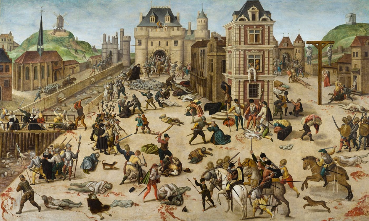 The St. Bartholomew's Day massacre of French Protestants (1572). It was the climax of the French Wars of Religion, which were ended by the Edict of Nantes (1598).  In 1620, persecution was renewed and continued until the French Revolution in 1789.